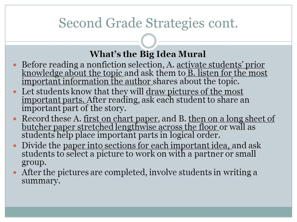 Second Grade Strategies cont.