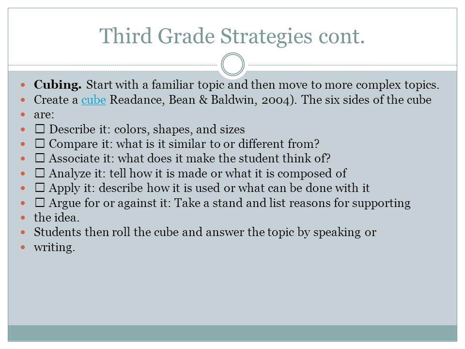 Third Grade Strategies cont.