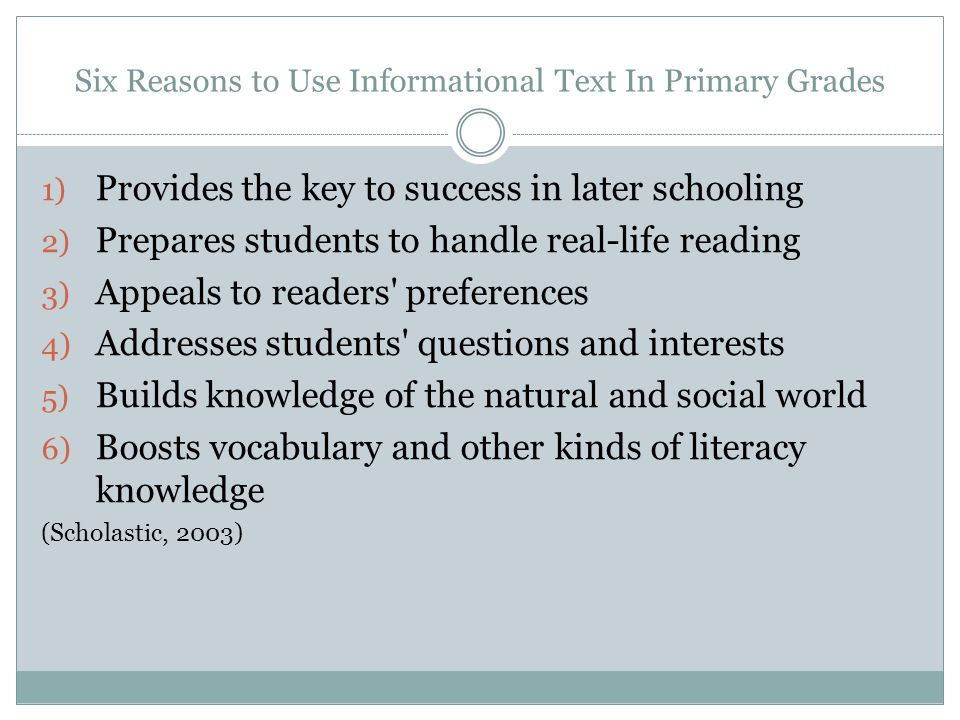 Six Reasons to Use Informational Text In Primary Grades