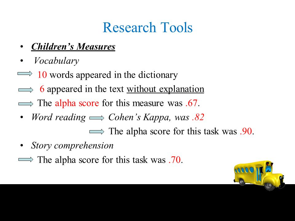 Research Tools Children's Measures Vocabulary