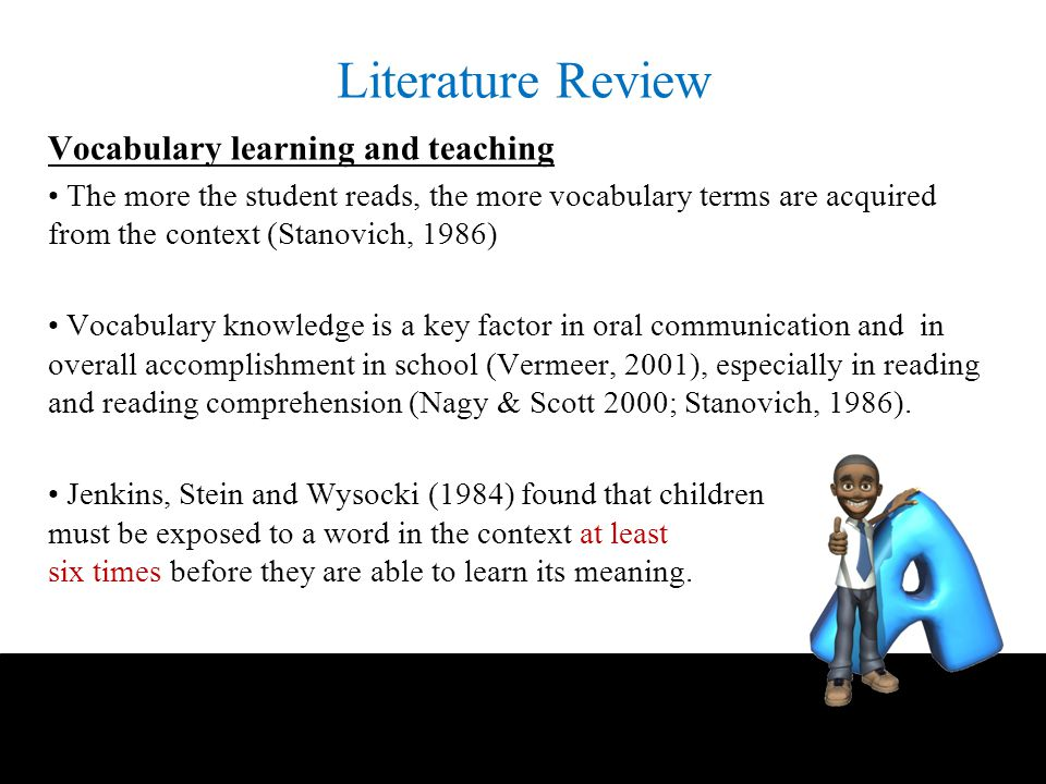 literature review vocabulary