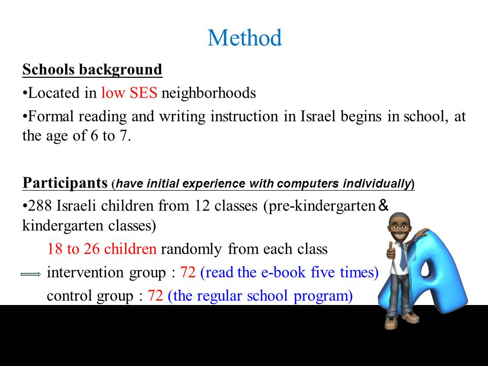 Method Schools background Located in low SES neighborhoods