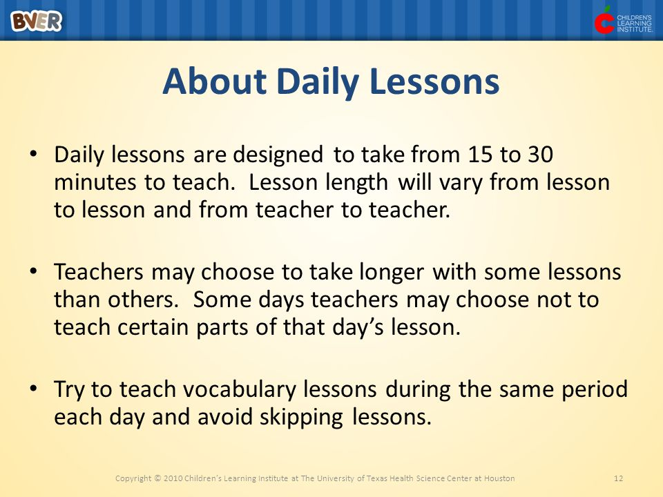 About Daily Lessons