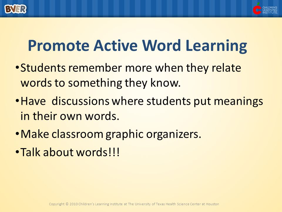 Promote Active Word Learning