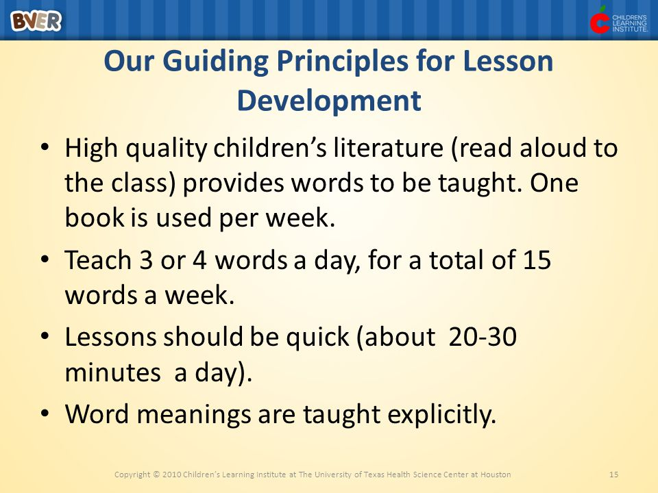 Our Guiding Principles for Lesson Development