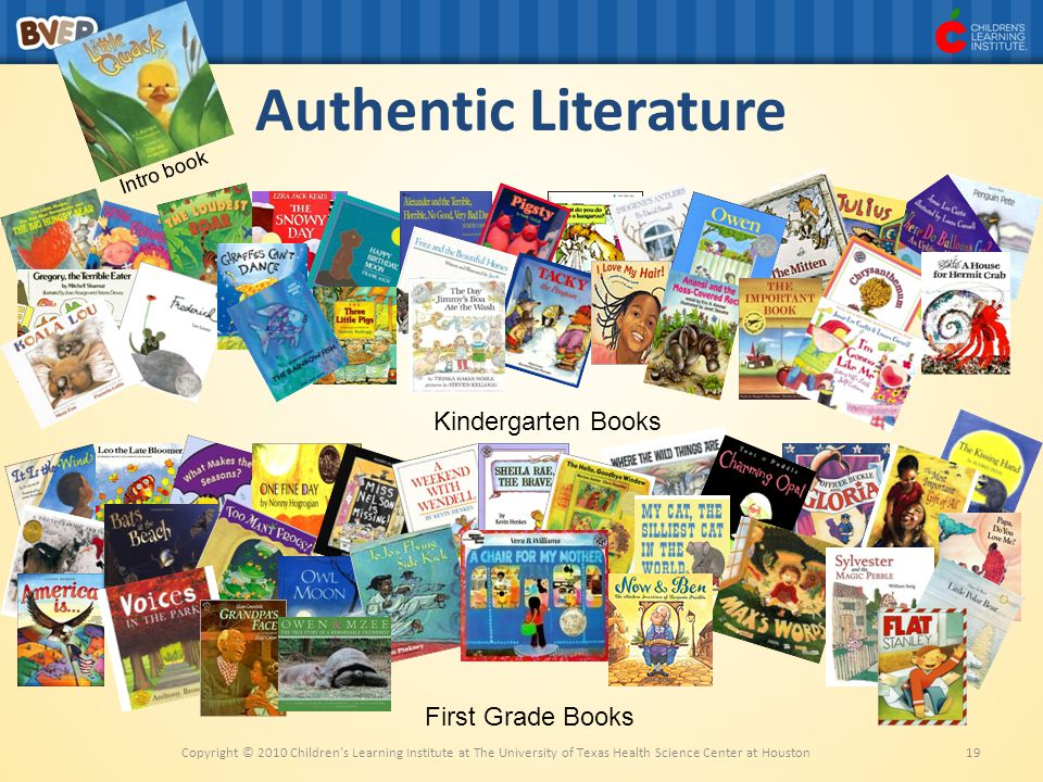 Authentic Literature Kindergarten Books First Grade Books Intro book