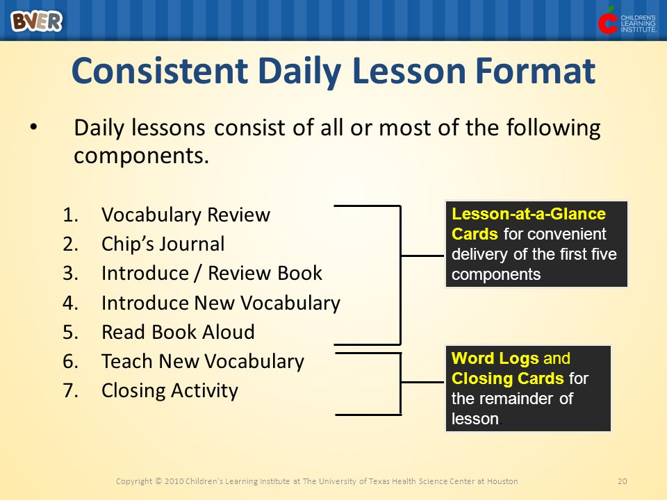 Consistent Daily Lesson Format