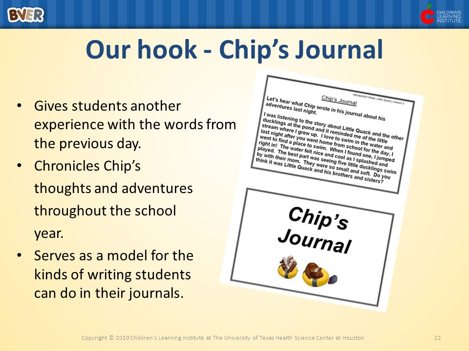 Our hook - Chip's Journal