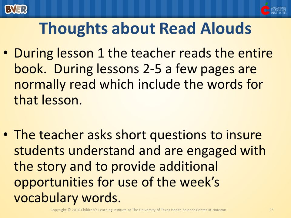 Thoughts about Read Alouds