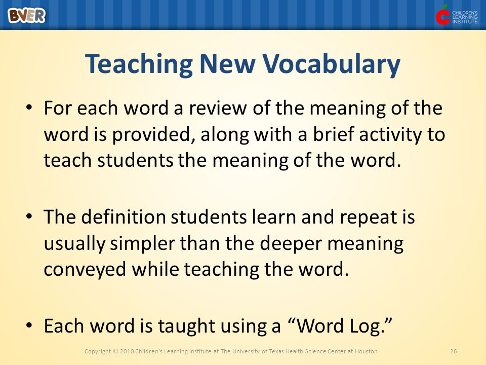 Teaching New Vocabulary