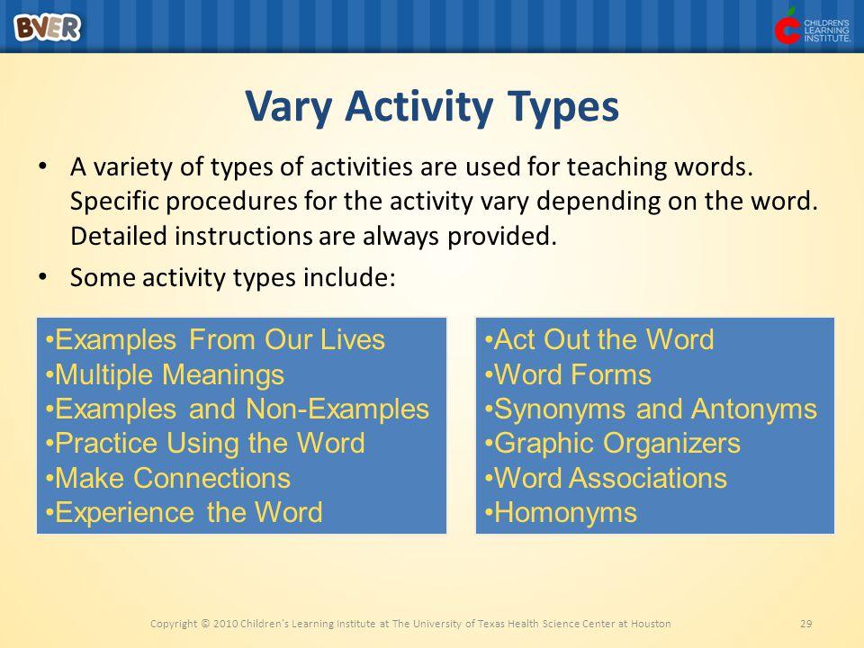 Vary Activity Types
