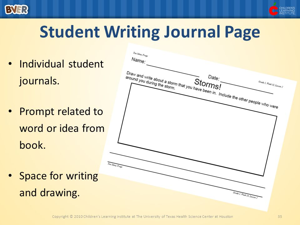 Student Writing Journal Page