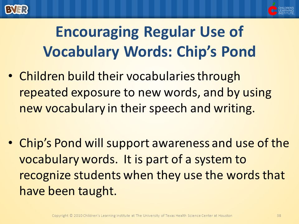 Encouraging Regular Use of Vocabulary Words: Chip's Pond