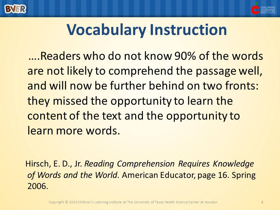 Vocabulary Instruction