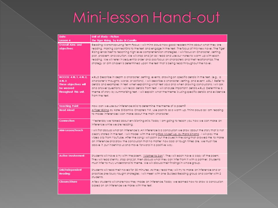 Mini-lesson Hand-out Date: Lesson 4 Unit of Study – Fiction