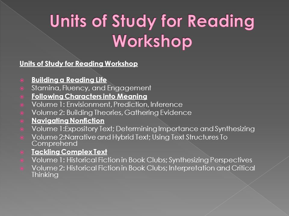 Units of Study for Reading Workshop