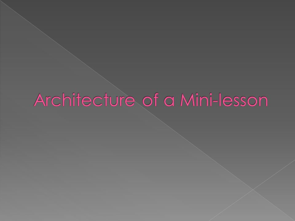 Architecture of a Mini-lesson
