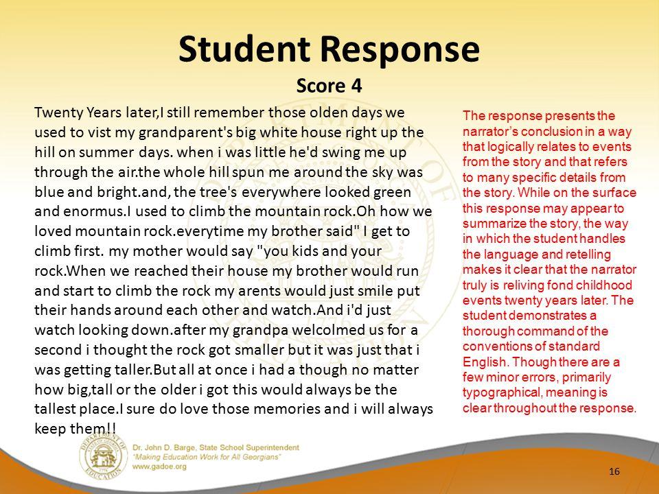 Student Response Score 4