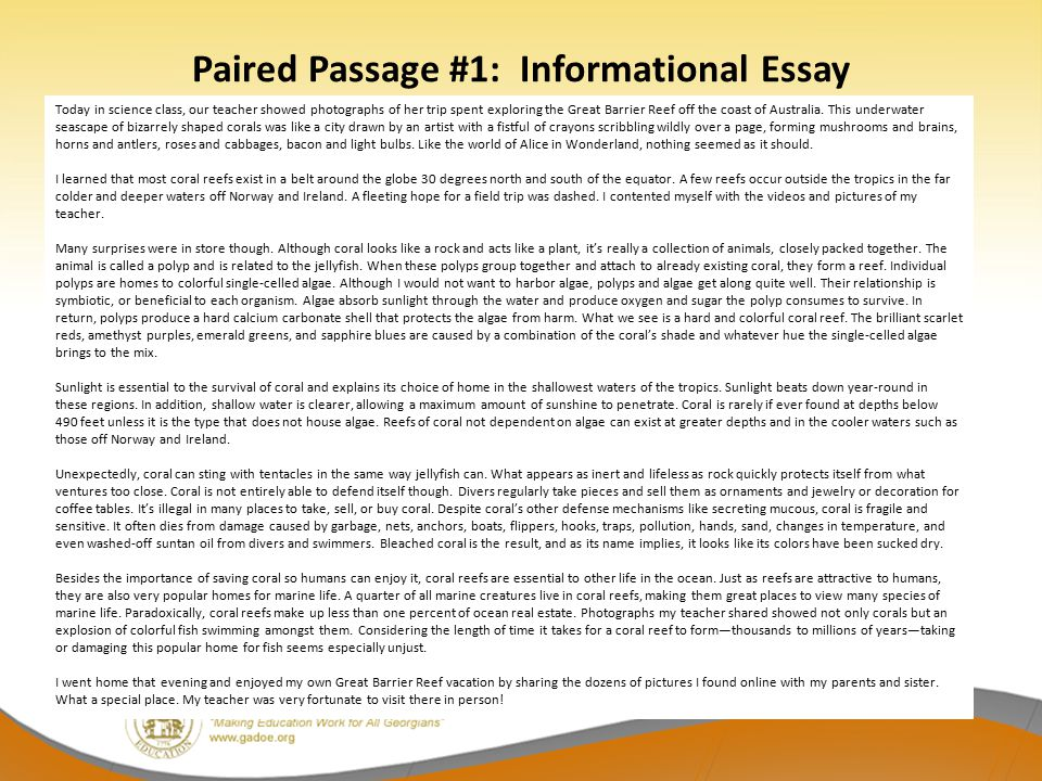 Paired Passage #1: Informational Essay