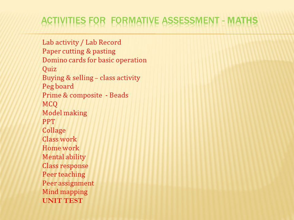 ACTIVITIES FOR FORMATIVE assessment - Maths