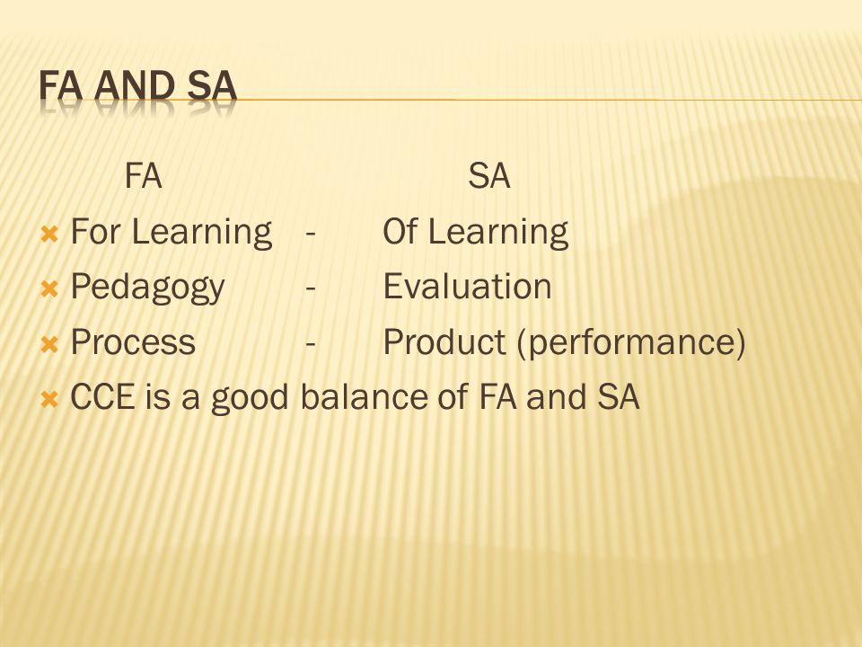 FA and SA FA SA For Learning - Of Learning Pedagogy - Evaluation