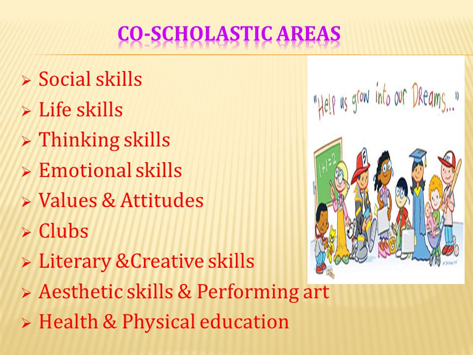 Co-scholastic areas Social skills. Life skills. Thinking skills. Emotional skills. Values & Attitudes.