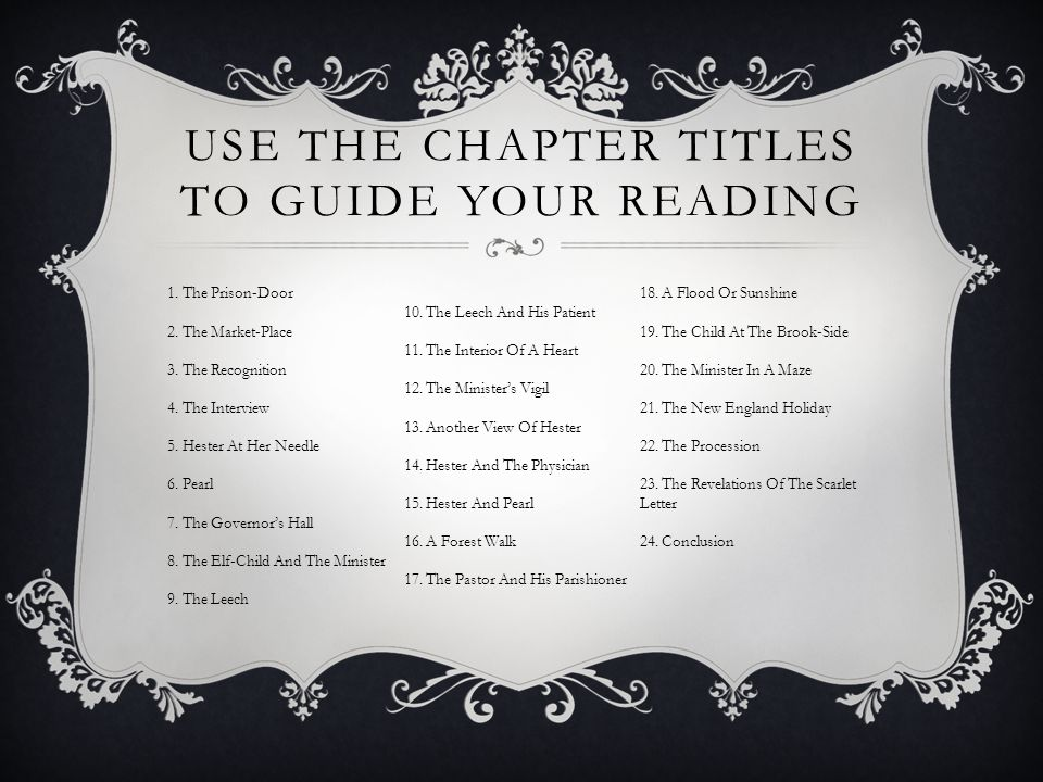 USE THE CHAPTER TITLES TO GUIDE YOUR READING