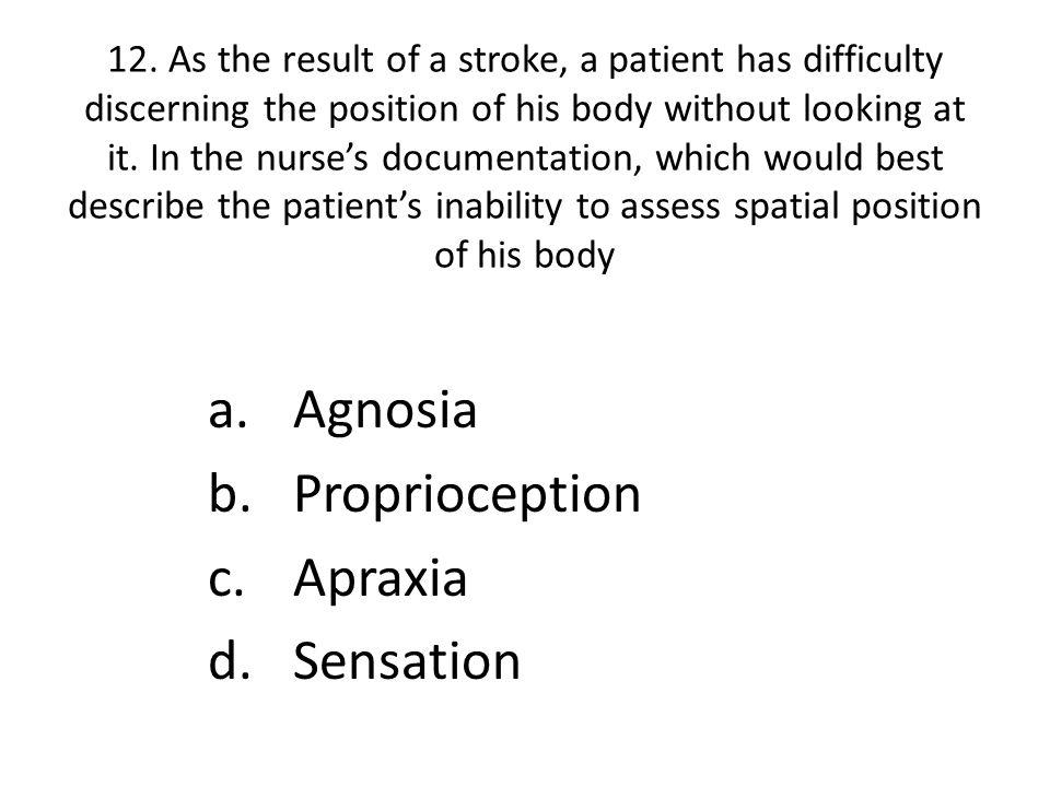 Agnosia Proprioception Apraxia Sensation