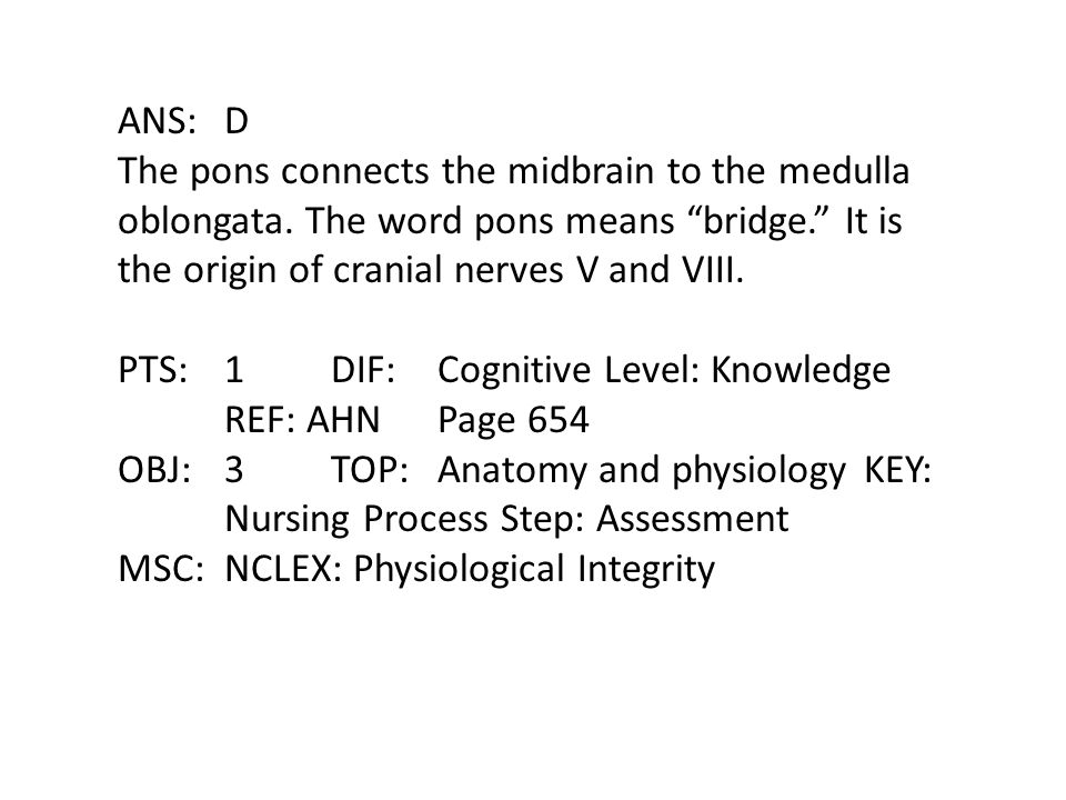 ANS: D The pons connects the midbrain to the medulla oblongata. The word pons means bridge. It is the origin of cranial nerves V and VIII.
