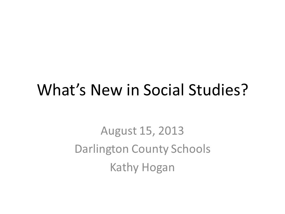What's New in Social Studies