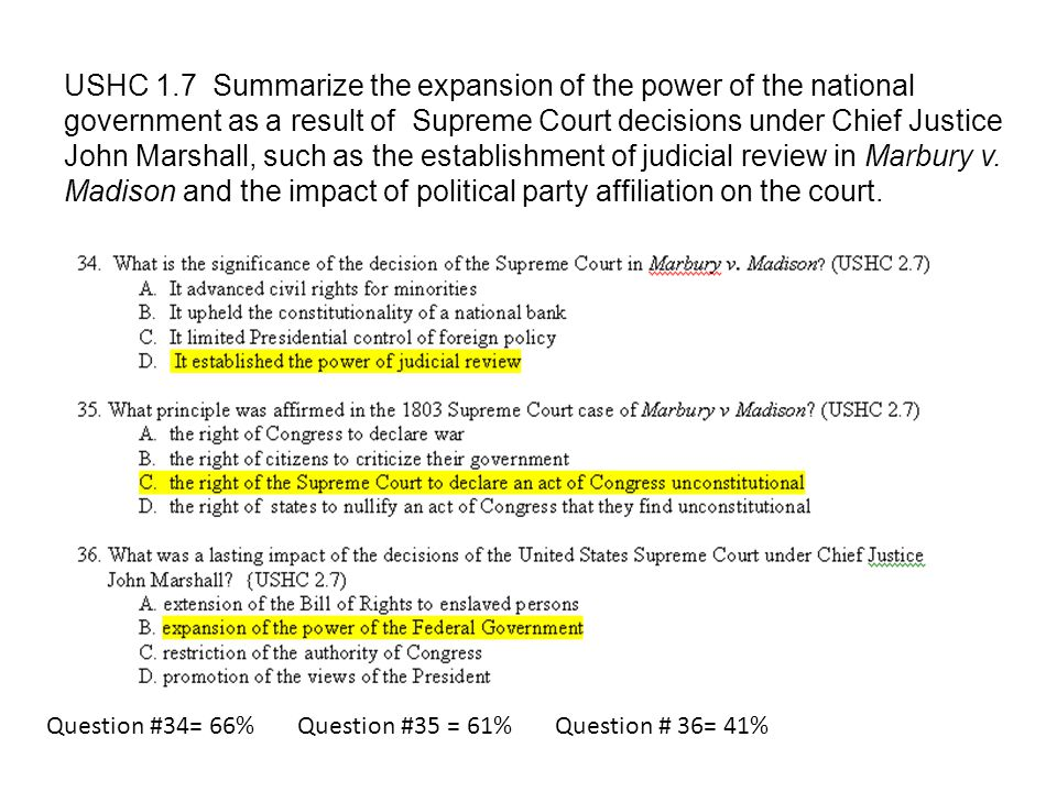 USHC 1.7 Summarize the expansion of the power of the national government as a result of Supreme Court decisions under Chief Justice John Marshall, such as the establishment of judicial review in Marbury v. Madison and the impact of political party affiliation on the court.