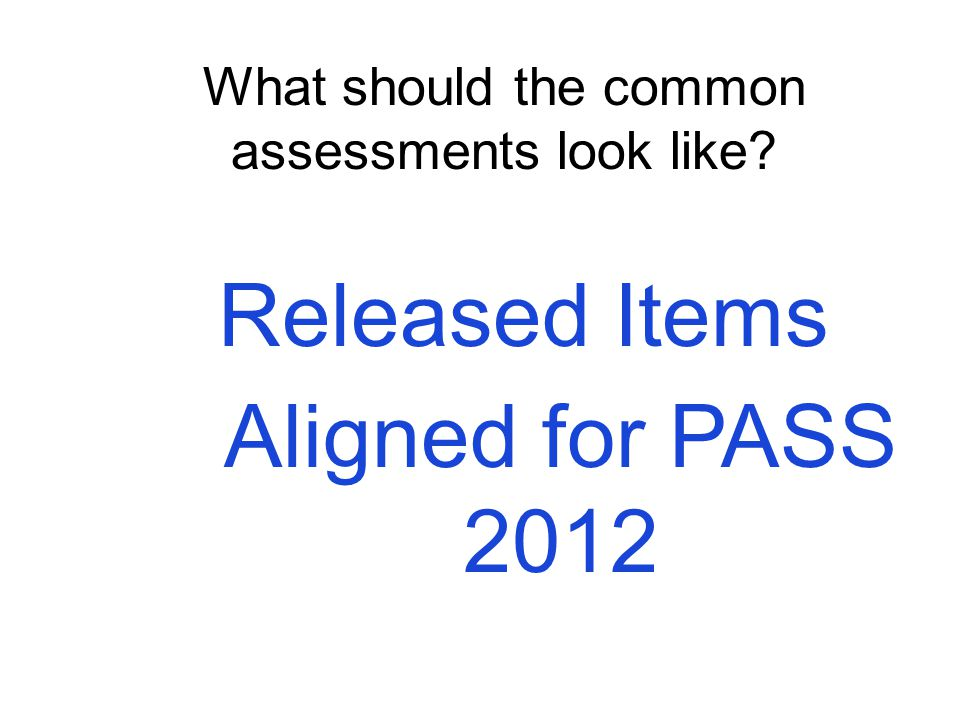 Released Items Aligned for PASS 2012