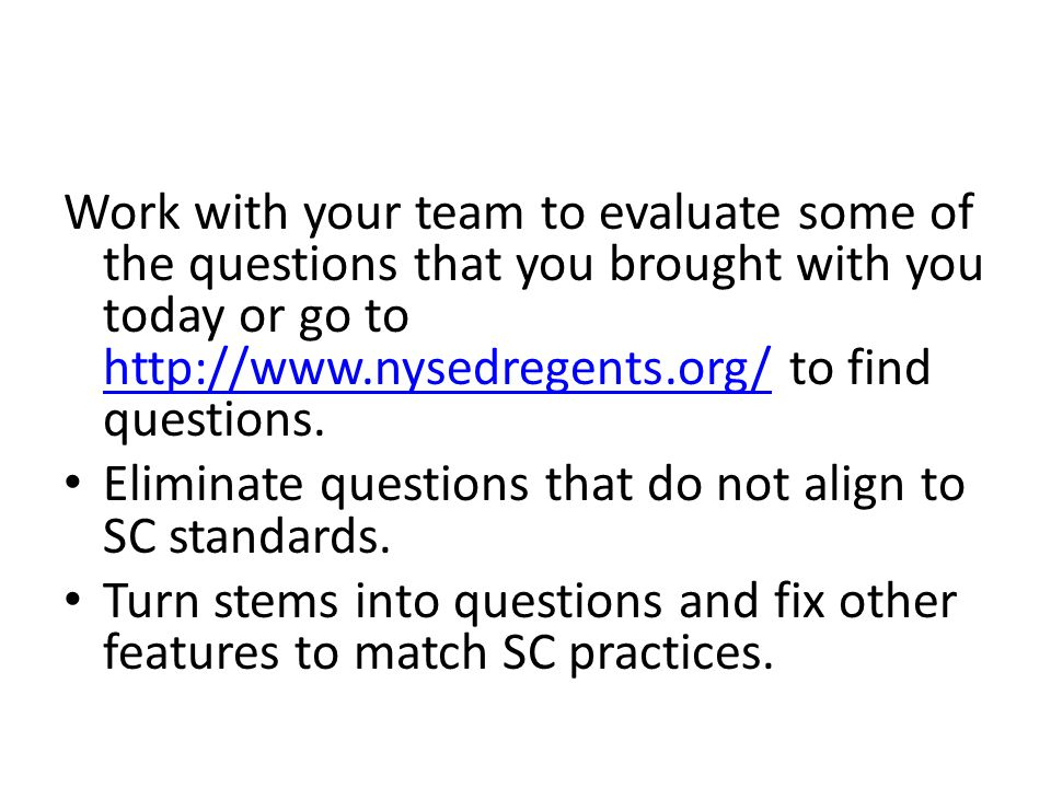 Eliminate questions that do not align to SC standards.