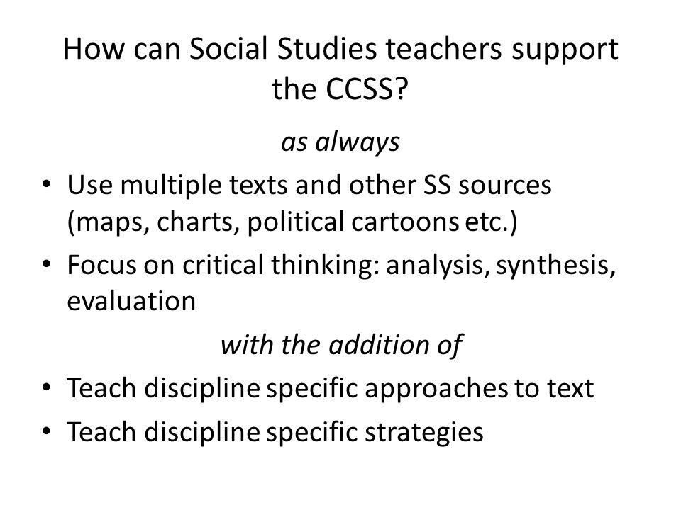 How can Social Studies teachers support the CCSS