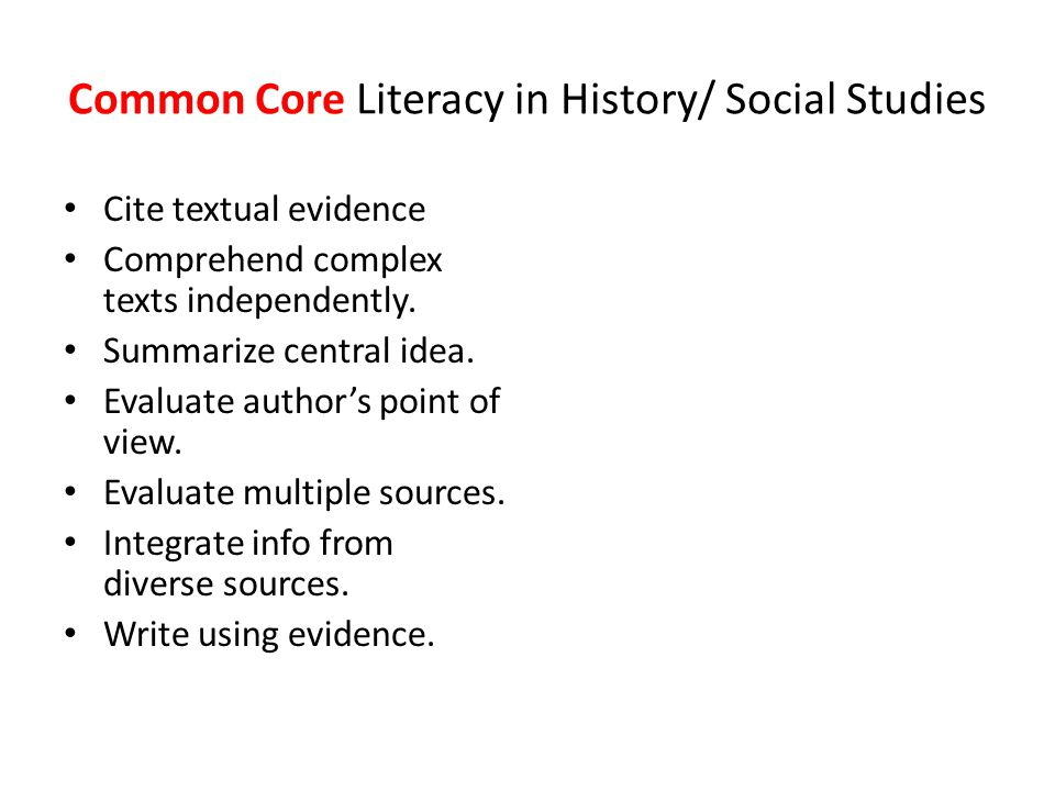 Common Core Literacy in History/ Social Studies