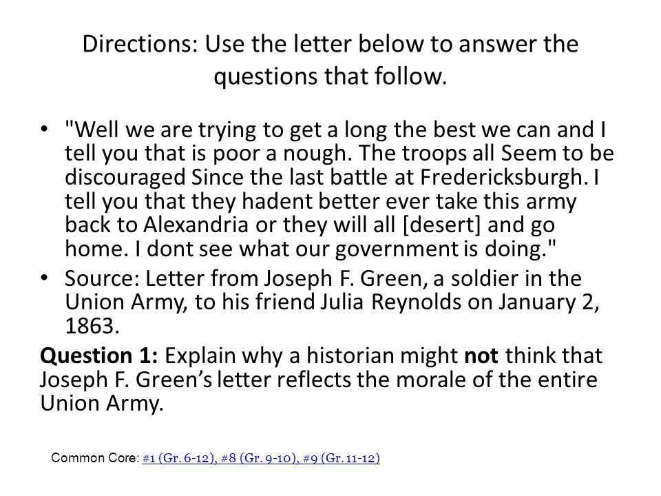 Directions: Use the letter below to answer the questions that follow.