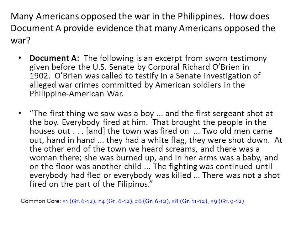 Many Americans opposed the war in the Philippines