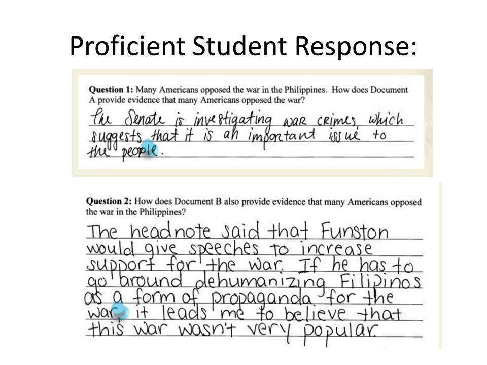Proficient Student Response: