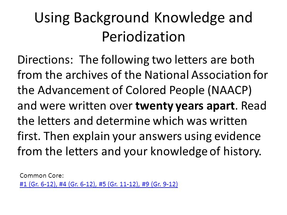 Using Background Knowledge and Periodization