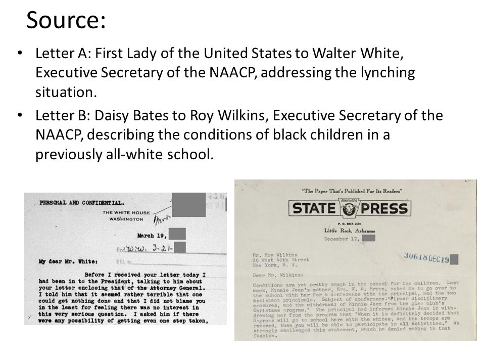 Source: Letter A: First Lady of the United States to Walter White, Executive Secretary of the NAACP, addressing the lynching situation.