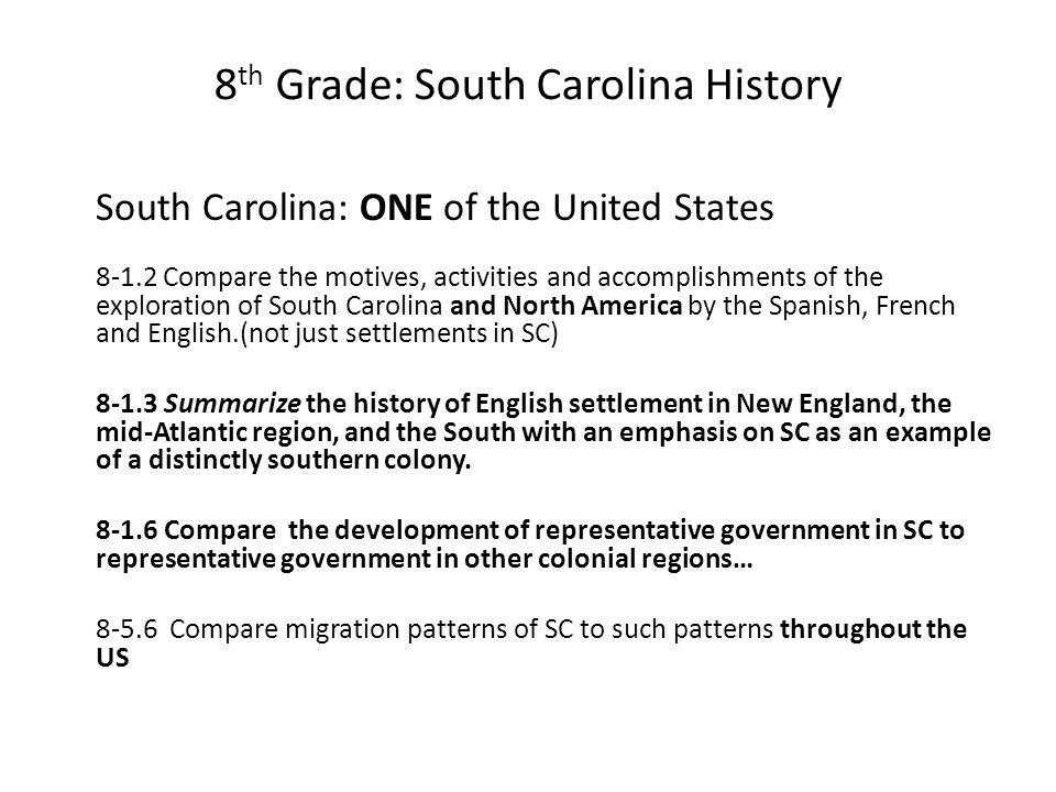 8th Grade: South Carolina History