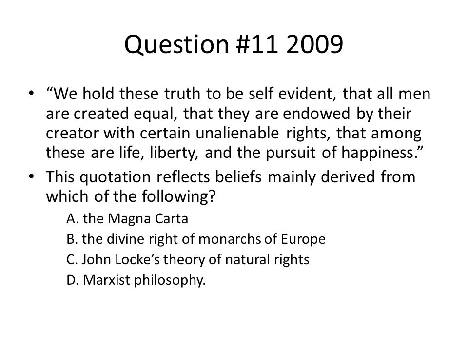Question #11 2009
