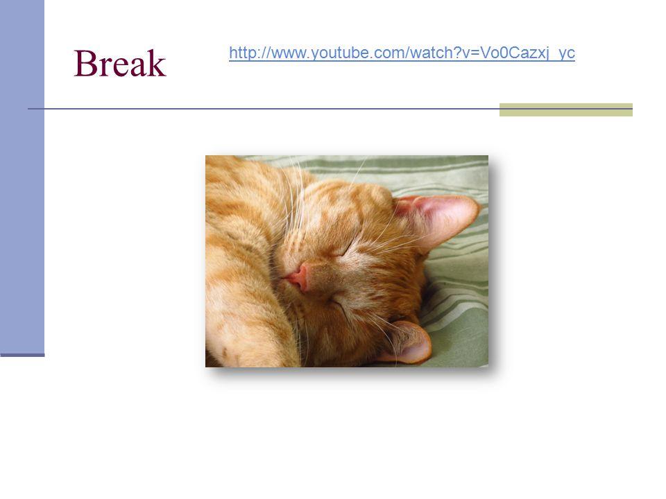 Break http://www.youtube.com/watch v=Vo0Cazxj_yc 2: 10 – 2:20