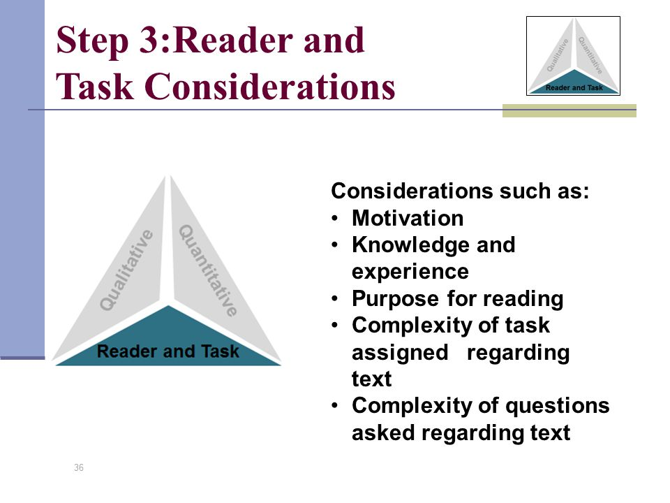 Step 3:Reader and Task Considerations Considerations such as: