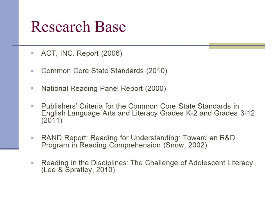 Research Base ACT, INC. Report (2006)