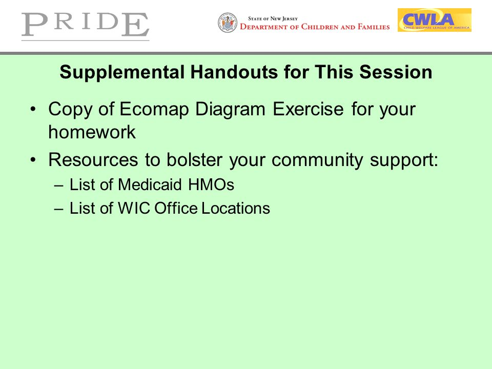Supplemental Handouts for This Session