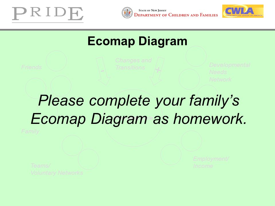 Please complete your family's Ecomap Diagram as homework.