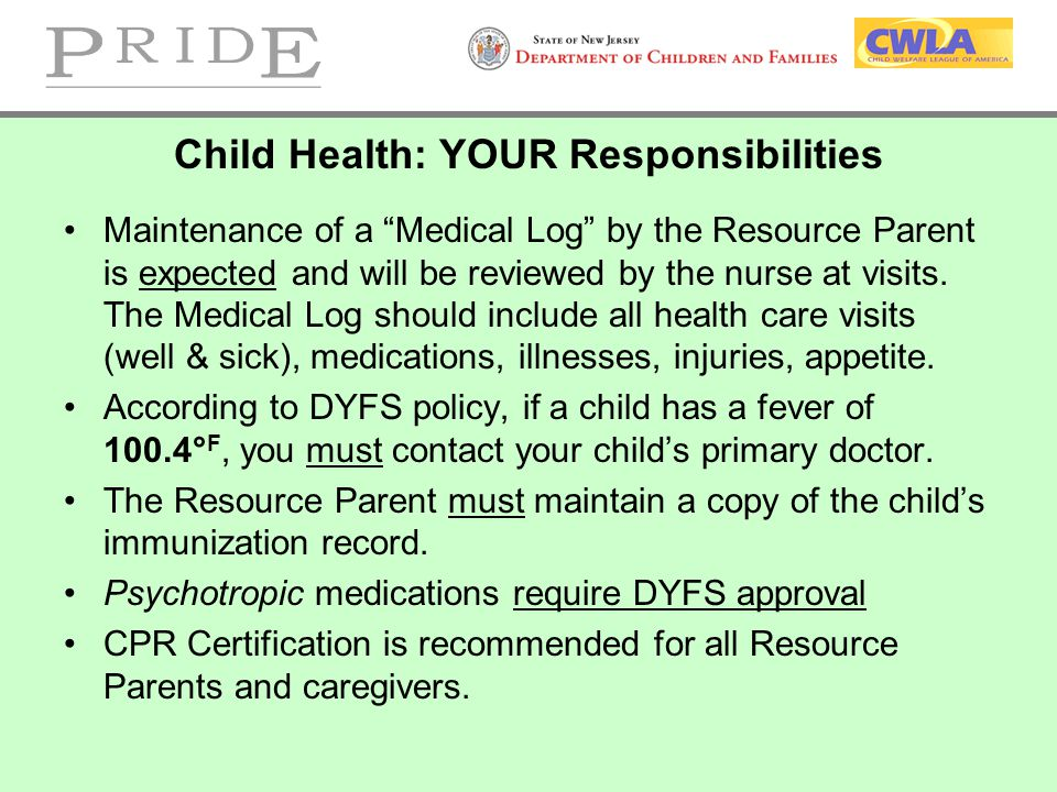 Child Health: YOUR Responsibilities