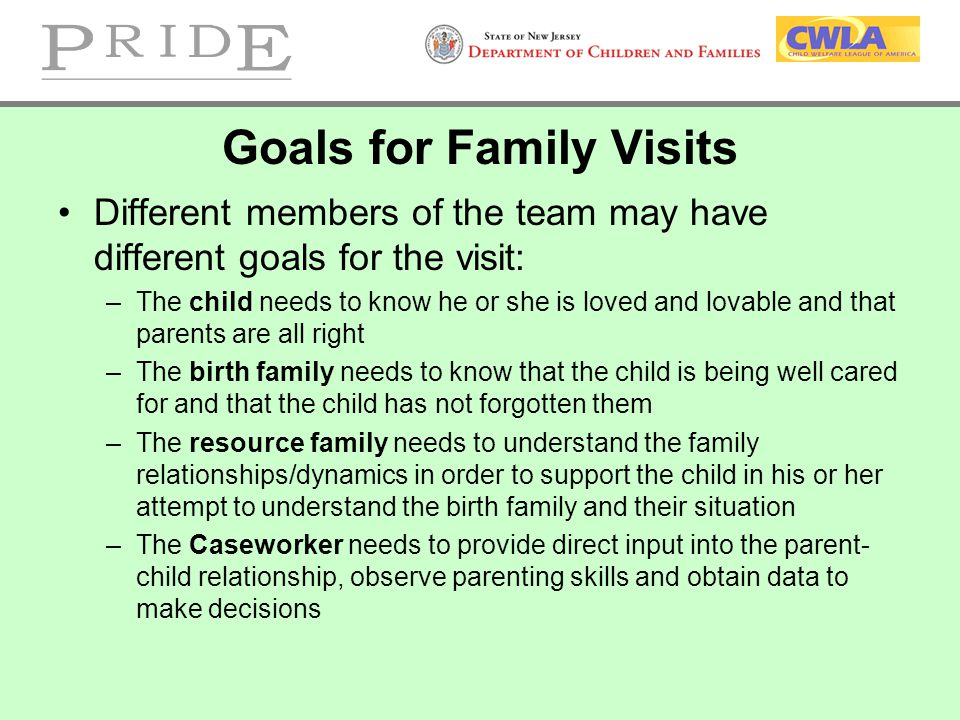 Goals for Family Visits