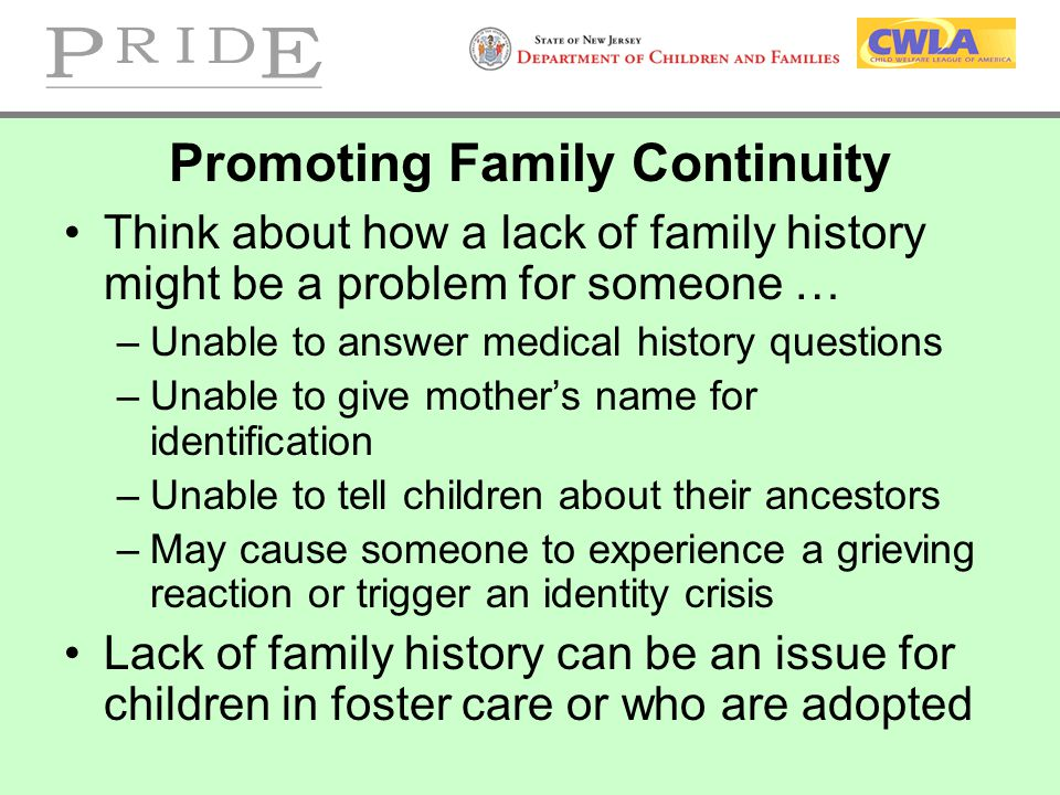 Promoting Family Continuity